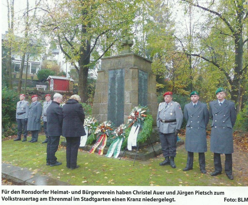 2014. Bild Gedenkfeier Volkstrauertag