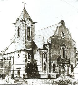 1950 die wieder aufgebaute kath. Kirche